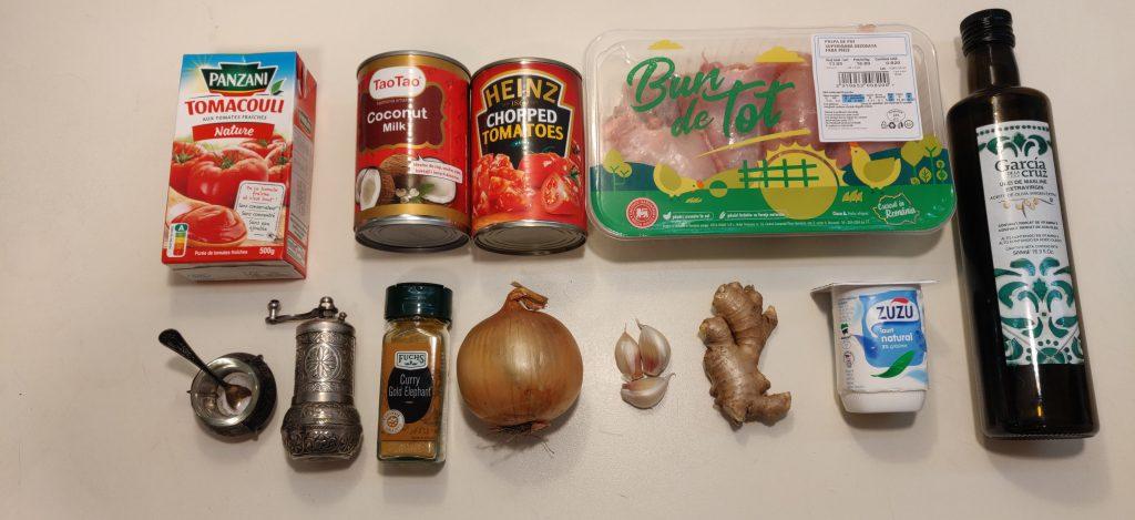 ingrediente curry cu pui